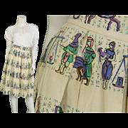 1950s Box Pleated Novelty Egyptian 50s Rockabilly Skirt