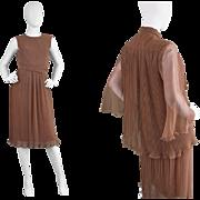 1970s Roland Klein for Marcel Fenez Brown Pleated Chiffon Two Piece Dress Suit