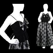 1980s Gina Fratini Silk Polka Dot Evening British Designer Dress