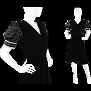 1980s Valentino Boutique Black Silk Satin & Velvet Beaded Evening Party Dress 80s