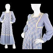 1970s Louis Caring London Boutique 70s Light Blue Prairie Dress