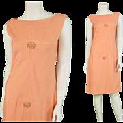 1960s Frank Usher Peach Linen Shift Dress 60s Mod