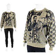 1980s Carlo Colucci 'Van Gogh' 80s Textured Mens Oversized Novelty Knit Sweater Jumper