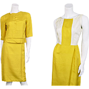 Vintage 1960s Jacques Heim White & Gold 60s Silk Dress & Boxy Jacket Suit