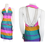 Vintage 90s Paco Rabanne Designer Two Piece Silk Rainbow Striped Sexy Backless Chain Skirt Sui