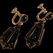 SALE Vintage Art Deco Style Black Glass Earrings