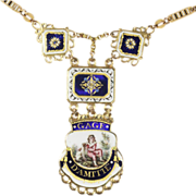 Remarkable Antique French Enamel Gold Necklace Circa 1820
