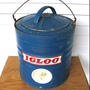 Vintage Blue Galvanized Metal Igloo Water Cooler 2 Gallon