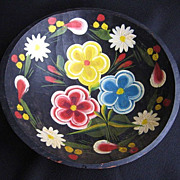 Vintage Mexican Folk Art Batea Floral Tole Wood Bowl 9.5""