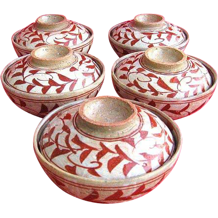 Five Handmade Stoneware Pottery Rice Bowls with Lids