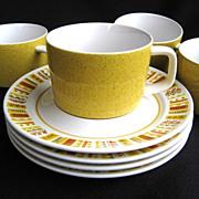 4 Mid-Century Modern 1960s Mikasa Mediterrania Cups & Saucers Empire Gold Sunda