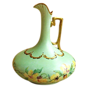 SALE Painted Austrian Porcelain Gild Decorated Ewer Pitcher / Vase c. 1900