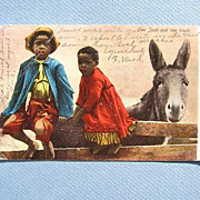 SALE Black Americana Postcard One Jack and Two Black 1906 Undivided Back