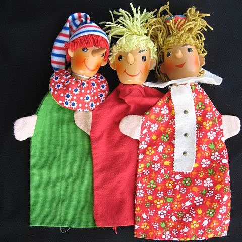 Three Vintage Hand Puppets with Wooden Heads
