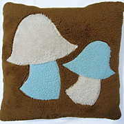 1970s Sofa Pillow with Mod Blue and White Mushroom Design