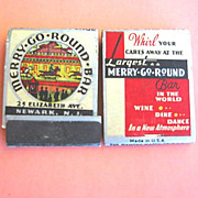 2 Newark N.J. Merry Go Round Bar Match Books 1930s