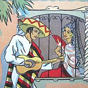 Framed Morris & Bendien Mexican Senorita Serenade Litho Print