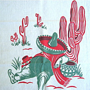 Vintage Sleeping Mexican Theme Linen Tea Towel or Bar Towel