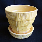 Yellow 1950s McCoy Basket Weave Flower Pot Planter