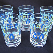 Five Marcrest Swiss Alpine Chalet Juice Glasses 1950s