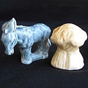 Vintage Donkey Burro & Haystack Ceramic Salt & Pepper Shakers