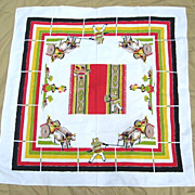 Vintage Mexican Theme Linen Table Cloth 4' by 4' Startex