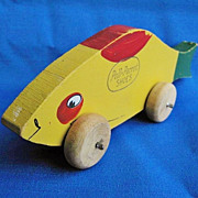 Rare Vintage Poll-Parrot Shoes Wooden Toy Fish c. 1920s