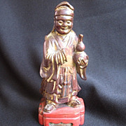 Vintage Carved Wood Chinese Buddha w. Red & Gilt Paint