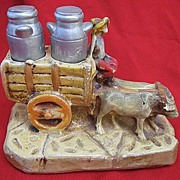 Vintage Chalkware Milk Truck with Chalk Milk Can Salt & Pepper Shakers 1936 S&P