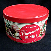SALE PENDING Vintage Plantation Dainties Christmas Candy Tin c. 1950s