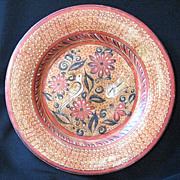 SALE Large Tonala Mexico Pottery Charger Plate Signed J. Nogal