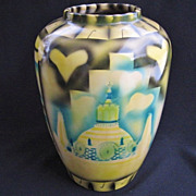 Modernist Mexico Theme Stylized  Pottery Art Vase