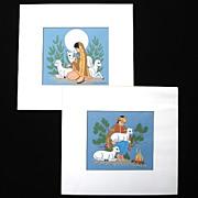 SALE 2 Harrison Begay Serigraph Prints Navajo Boy, Girl, Lambs