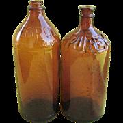 Two Vintage 32 oz Brown Bleach Bottles Purex & Clorox