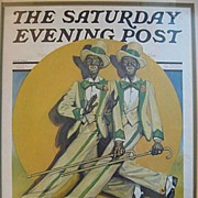 SALE Framed Saturday Evening Post Minstrels 1930 Black Americana