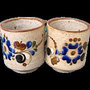 2 Stoneware Tonala Mexican Mugs w. Cobalt Flowers Signed J. Campe