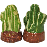 Mexican Tlaquepaque Pottery Cactus Salt & Pepper Shakers