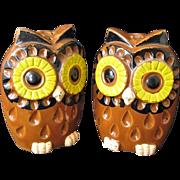 Mod 1970s Wide-Eyed Owls Salt & Pepper Shakers Japan