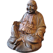 Vintage Carved Wooden Laughing / Smiling Buddha