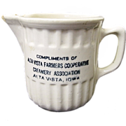 Yellow Ware Advertising Creamer Alta Vista Iowa Farmers Creamery Co-op