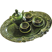 Miniature Oaxaca Mexico Green Drip-ware Pottery Tea Set