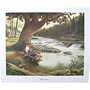 """SALE E. Howard Burger """"Concentration"""" Fishing Print Signed Numbered Limited Edition"""