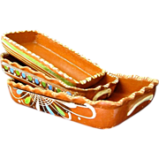 Mexican Tlaquepaque Redware Pottery Nesting Rectangular Dishes