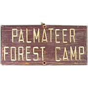 SALE Vintage Oregon Palmateer Forest Camp Wooden Sign