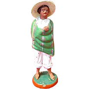 SALE Tlaquepaque Mexico Folk Art Man in Serape Figurine c. 1950s