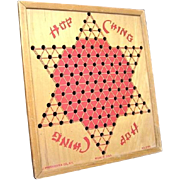 Vintage J Pressman & Co Hop Ching Wooden Chinese Checkers Board No. 2739