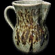 Vintage Stoneware Pottery Milk Pitcher w. Slip Glaze Tree Design