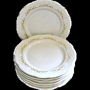 Seven Vintage Buffalo China Plates Colonnade Pattern Mustard Loops Buf41