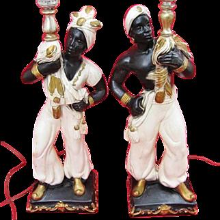 Mid Century Nubian Blackamoor Lamps PGH Statuary Chalkware