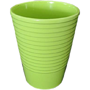 Lime Green Ribbed Ceramic Vase Made in Germany